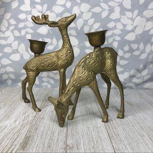 Vintage Bronze Deer Candlestick Holders Decor